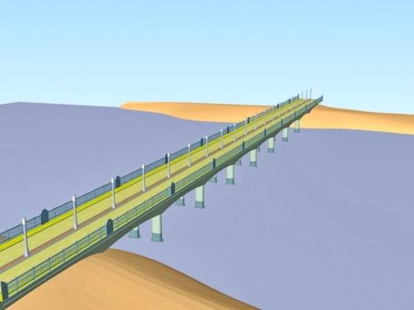 River Bridge With Streetlight