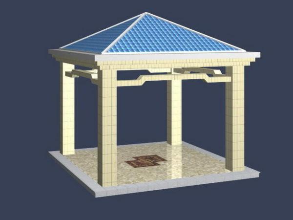 Square Gazebo Old Style Pavilion 3ds Max Model Free (Max
