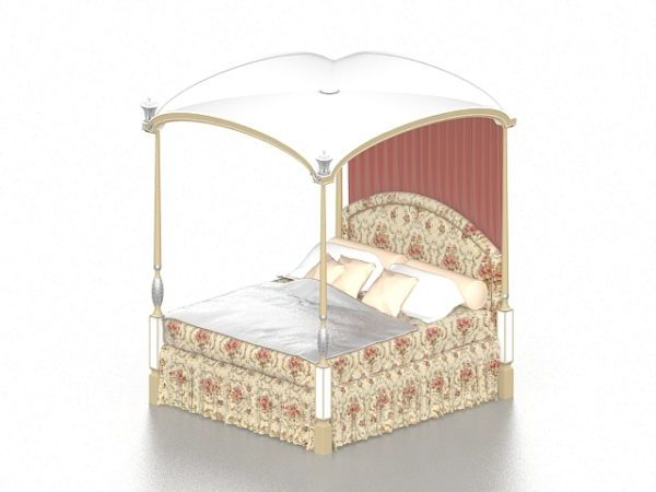 teen girl canopy bed free 3d model