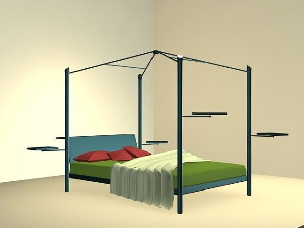 Metal Canopy Bed 3ds Max Model - Free Download ( Max