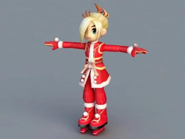 Christmas Cartoon Girl