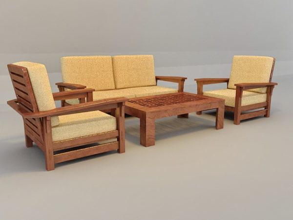 Pleasing Traditional Sofa Set With Wood Trim Free 3Ds Max Model Inzonedesignstudio Interior Chair Design Inzonedesignstudiocom
