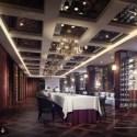 Luxury Western Restaurant With Wine Racks Interior Scene