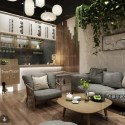 Coffee Shop With Sofa Armchair Interior Scene