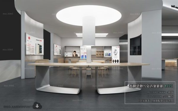 Hi-tech Showroom Minimalist Shop Interior Scene