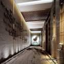 Scena dell'interno della decorazione moderna del corridoio dell'hotel di stile