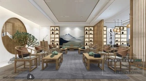 Chinese Style Wooden Reception Room Interior Scene