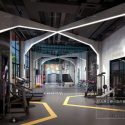 Industrial Style Gym Studio Interior Scene