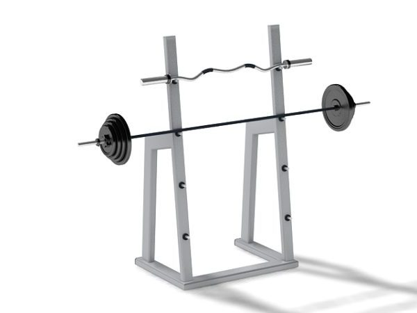 gym barbell squat rack free 3d model