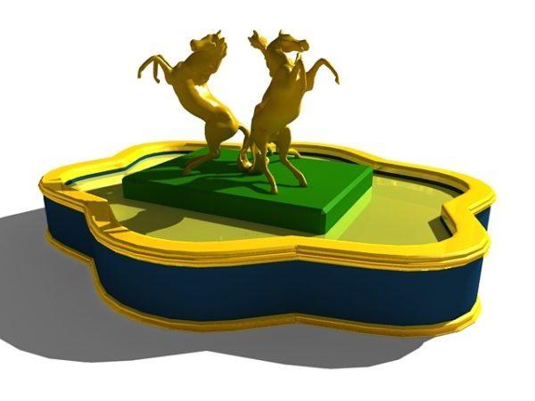 Estatua de tres caballos en la fuente