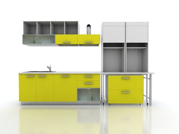 Yellow Kitchen Cabinet Modern Design Free 3ds Max Model