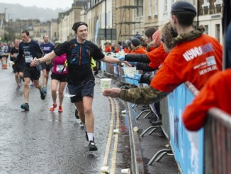 Man completing Bath Half Marathon