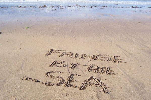 Fringe by the sea written in the sand