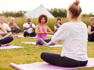 People in a yoga class together