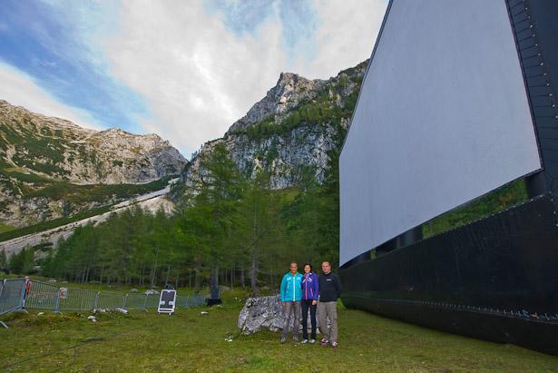 Open air kino in den Bergen