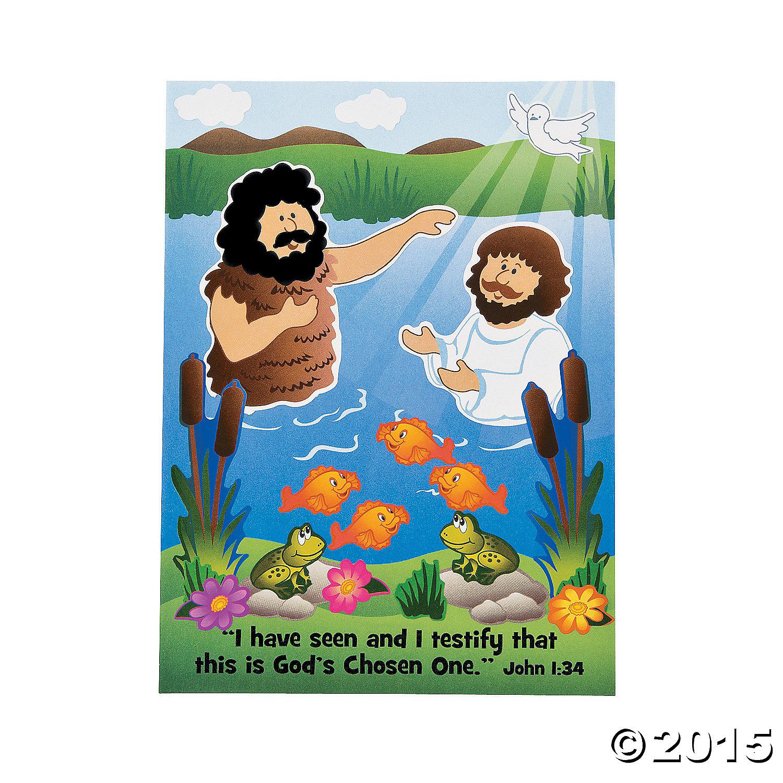 Baptism Of Jesus Mini Sticker Scenes 12 Pk Party Supplies