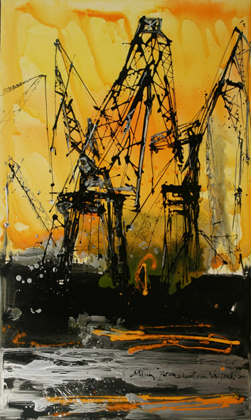 26. Μίνα Παπαθεοδώρου Βαλυράκη – Cranes In Yellow Background –  ακρυλικό σε καμβά –  200 X 100  ε
