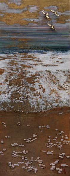 8. Μάρκος Βενιός – Αιγαίο  Νο III – αυγοτέμπερα σε ξύλο, φύλλα χρυσού, μικτή τεχνική – 100 X 40