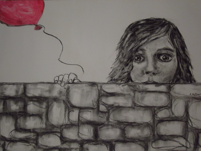 ΜΠΟΜΠΟΡΗ ΑΓΓΕΛΙΚΗ, Ξύπνα Χαμογέλασε Ζήσε, 65x50cm, κάρβουνο και σκόνη σε χαρτί.