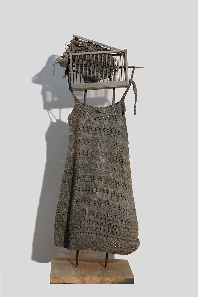 14.Εξουθένωση, 100Χ40Χ40εκ.,νήμα,τσιμέντο,ξύλο,σίδηρος ,2016
