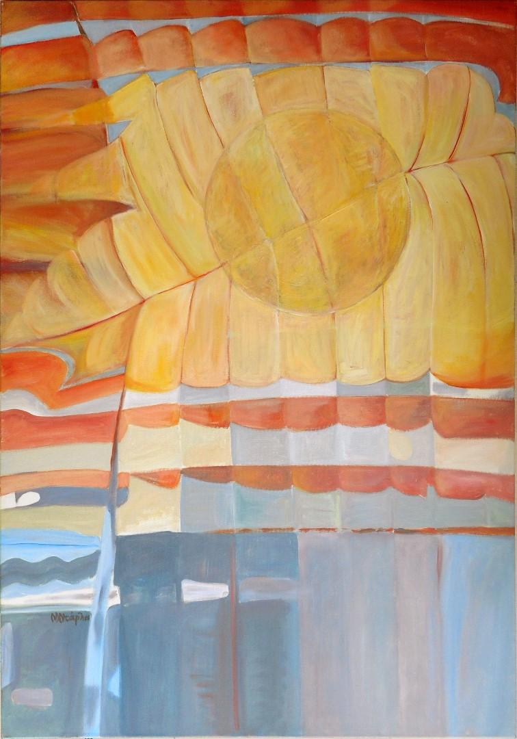 Ντάρλα Μαρία, Έχουμε στο κατάρτι μας βιγλάτορα, παντοτινό τον Ήλιο τον Ηλιάτορα, 100X70cm, Ακρυλικά σε καμβά