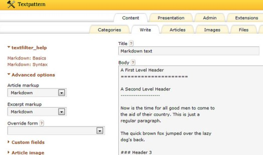 screenshot of Markdown in action