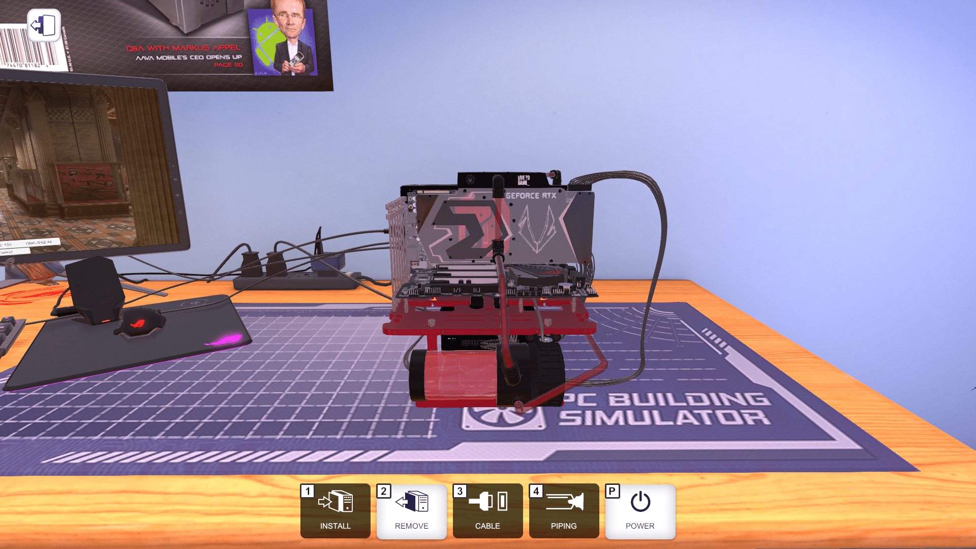 Open Benchtable Red in PC Building Simulator (front)