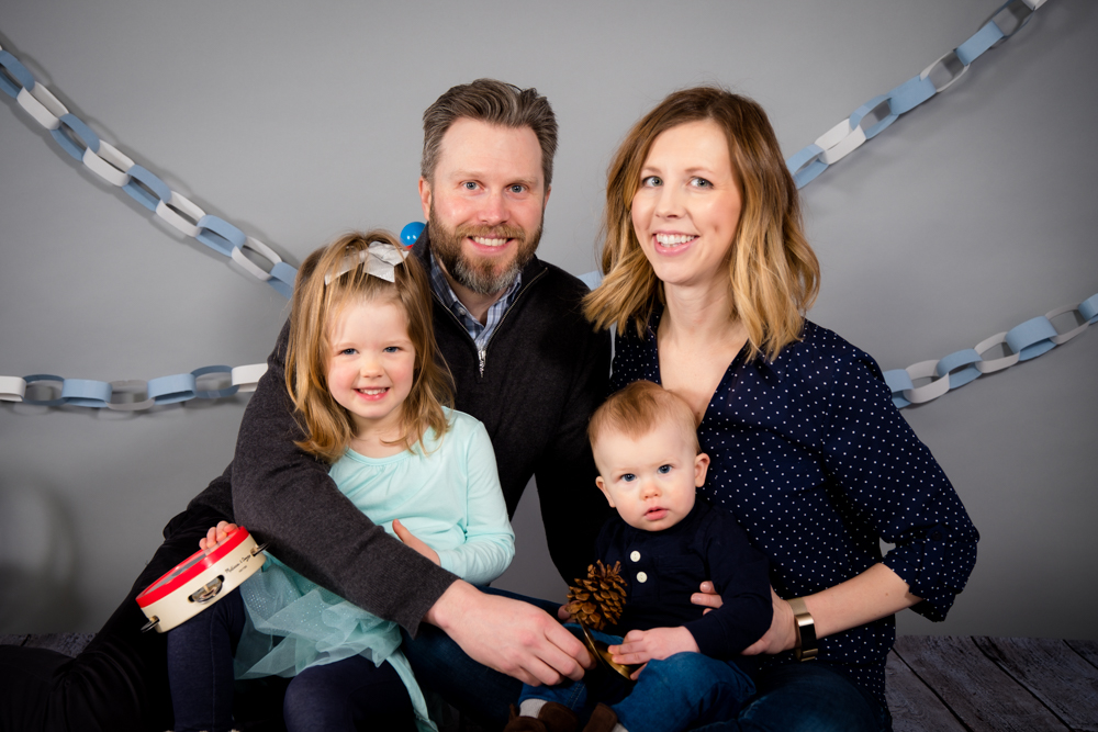 Beautiful family portrait at Open Box Photography studio in Dexter