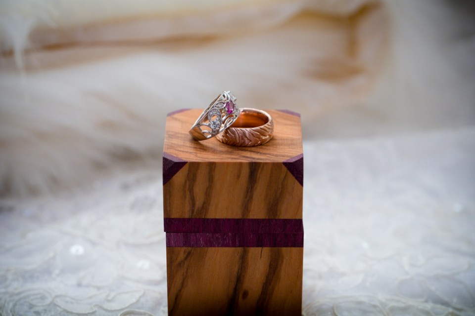 Handmade ring box and wedding rings