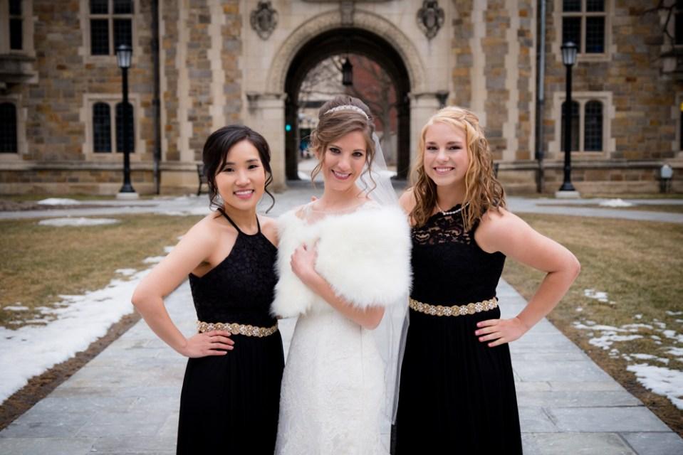 Bride and her bridesmaids in Ann Arbor Law Quad
