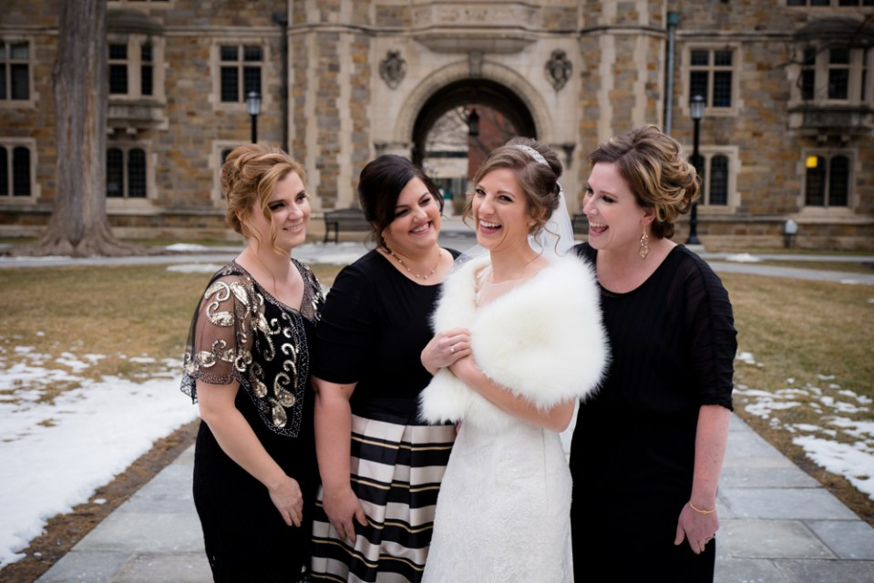 Bride and her bridal team in Ann Arbor Law Quad