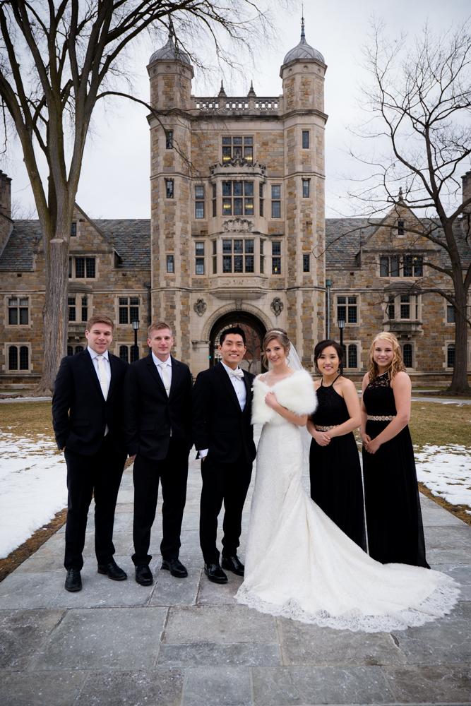 Bridal party in Ann Arbor Law Quad