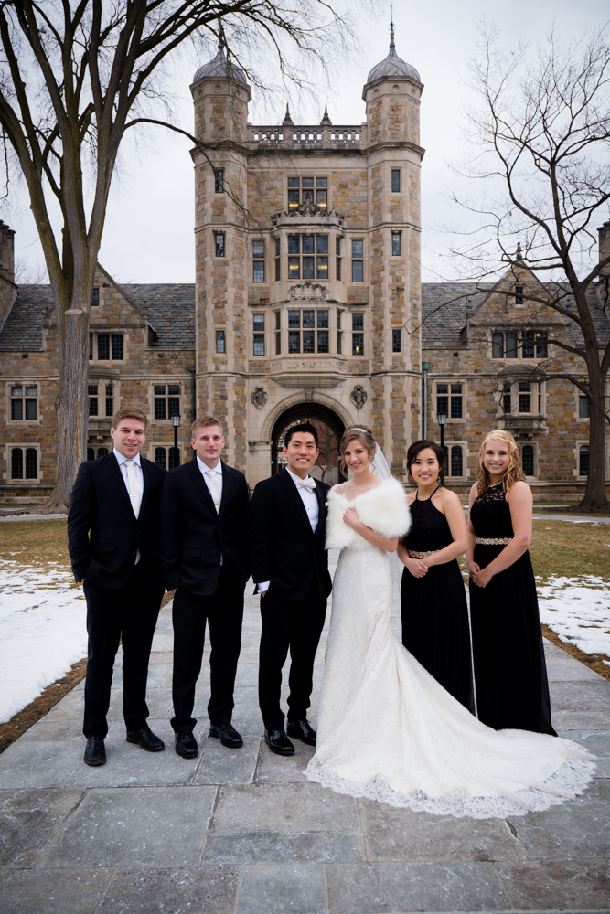 Bridal party in Ann Arbor Law Quad