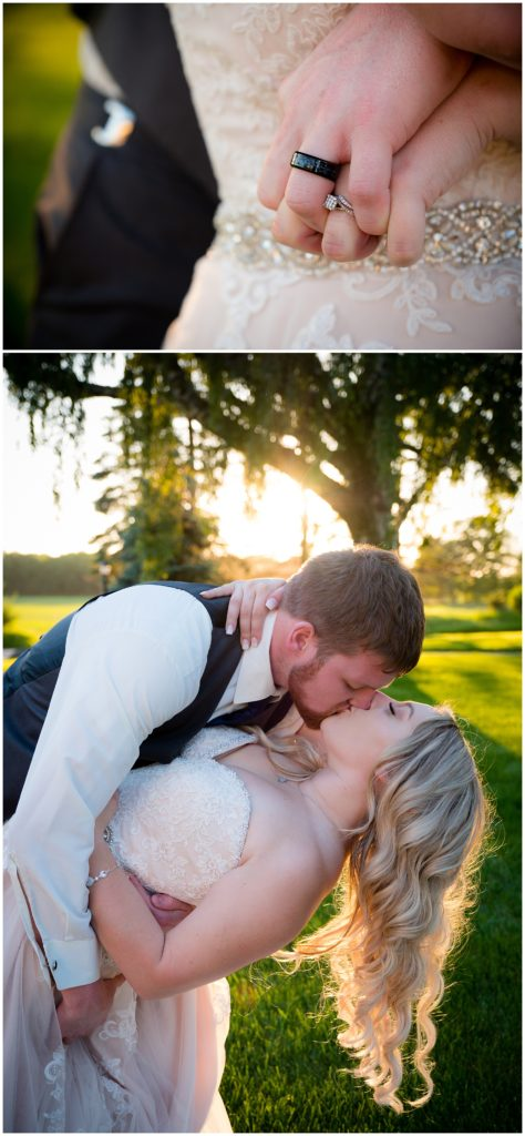 Bride and groom's wedding rings and a gorgeous dip kiss with the sunset glowing behind them.