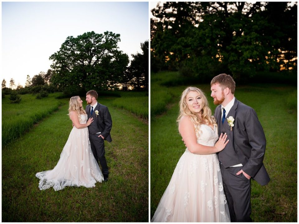 Two photos of the bride and groom with a big beautiful oak tree behind them.