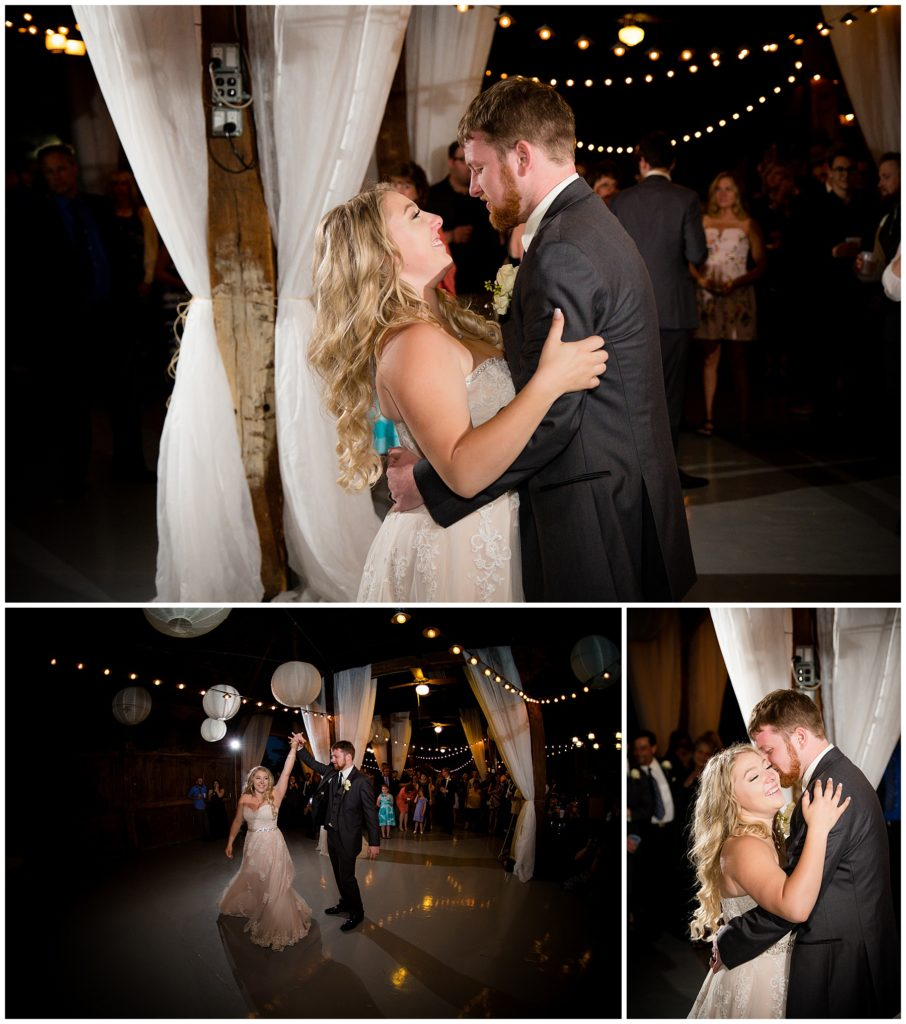 Series of three photos of Hannah and Brandon's first dance at Lazy J Ranch.