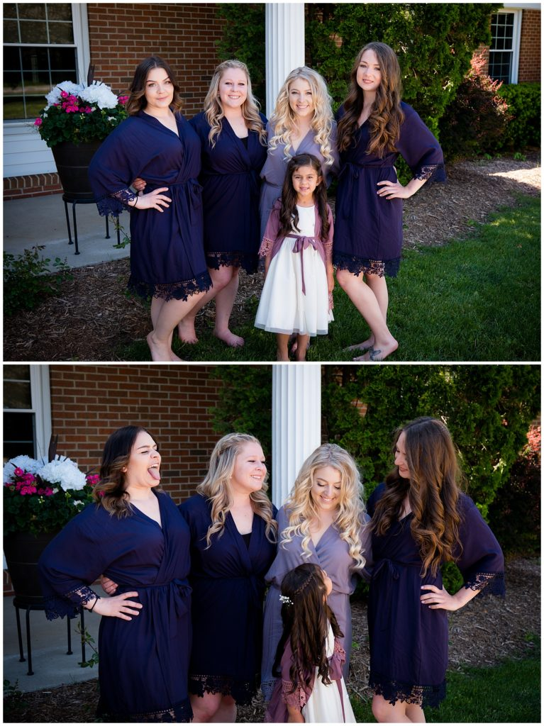 Two photos of the bride with her bridesmaids before getting into their dresses.