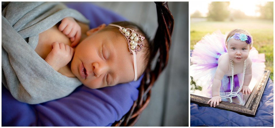Two photos of a beautiful little girl, one as a newborn and one at 1 year old