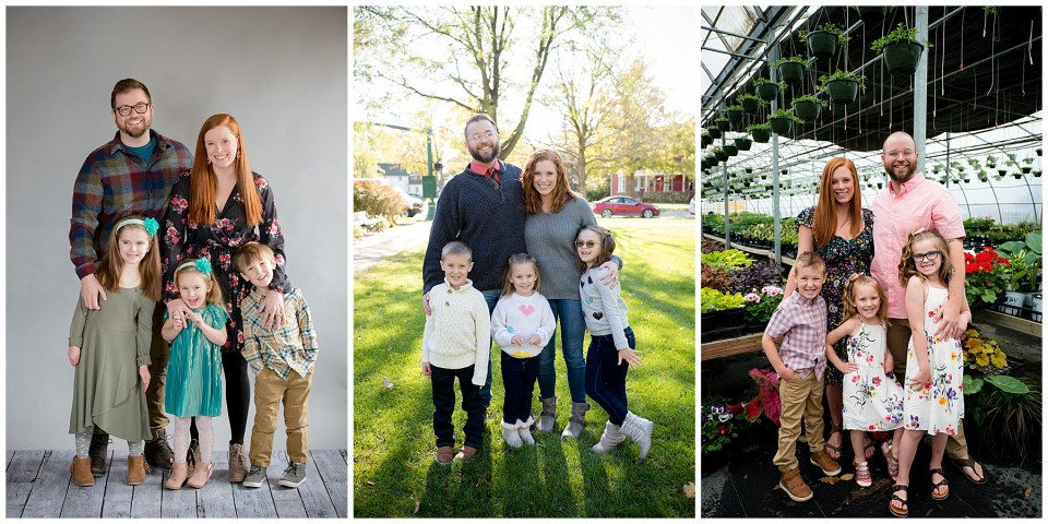 Series of 3 photos of a family over a time span of 3 years.