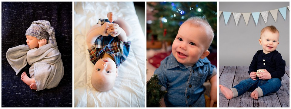 Progression of 4 photos of a sweet boy from newborn to 1 year old.