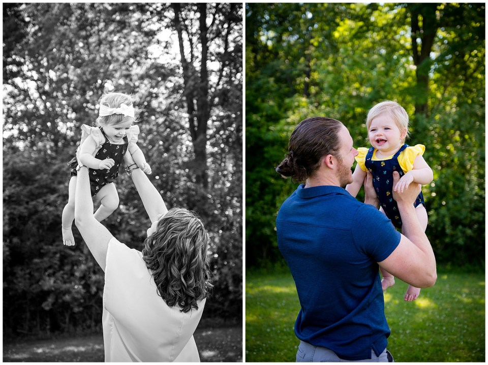 Two pictures, one of mom tossing up her baby girl, and one of dad holding up his baby girl.