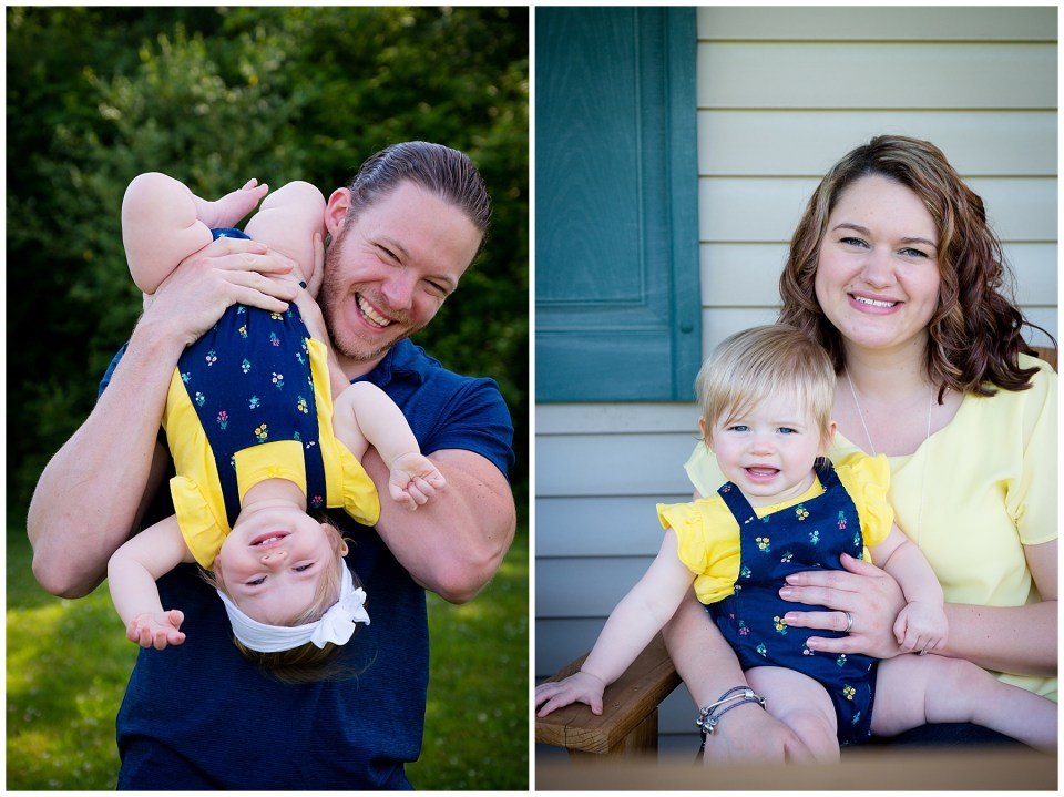 Two photos,baby girl with her dad being hung upside down, and photo with her mom sitting on the porch.