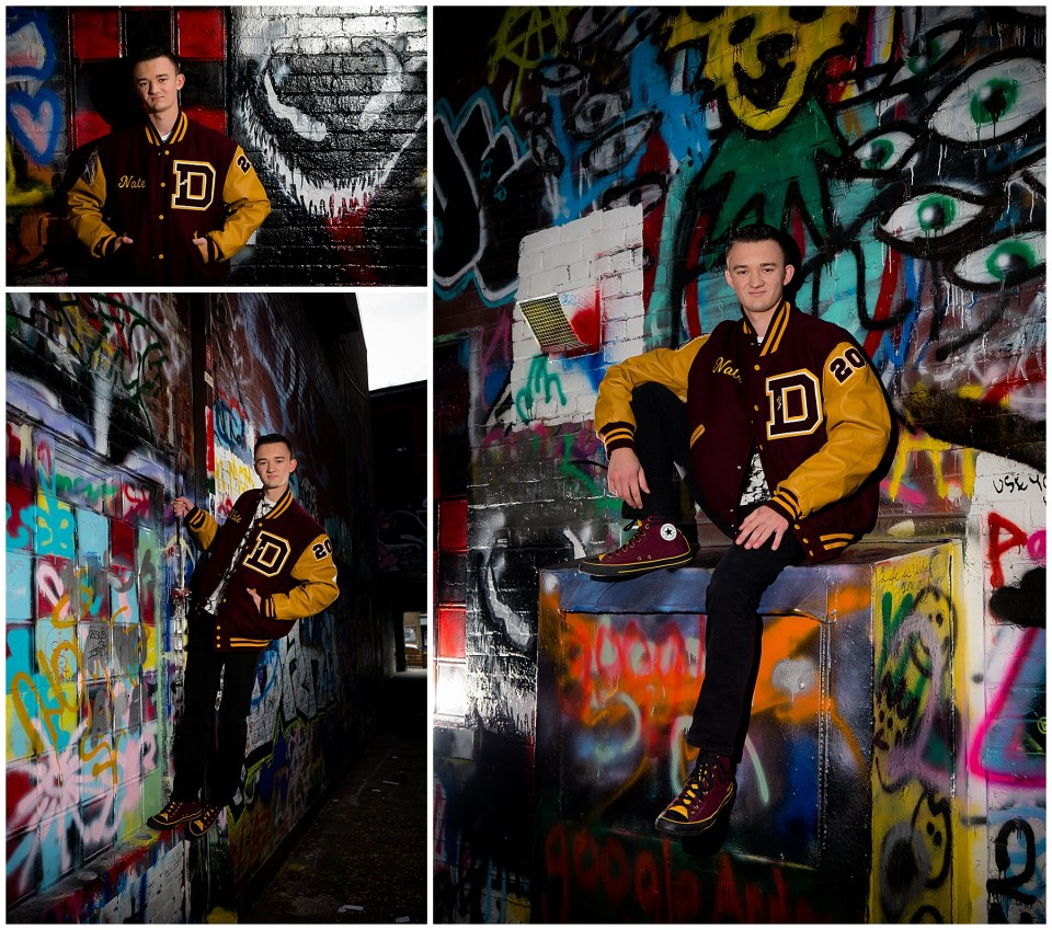 Dexter High School Senior Photos Grafitti alley and rock climbing