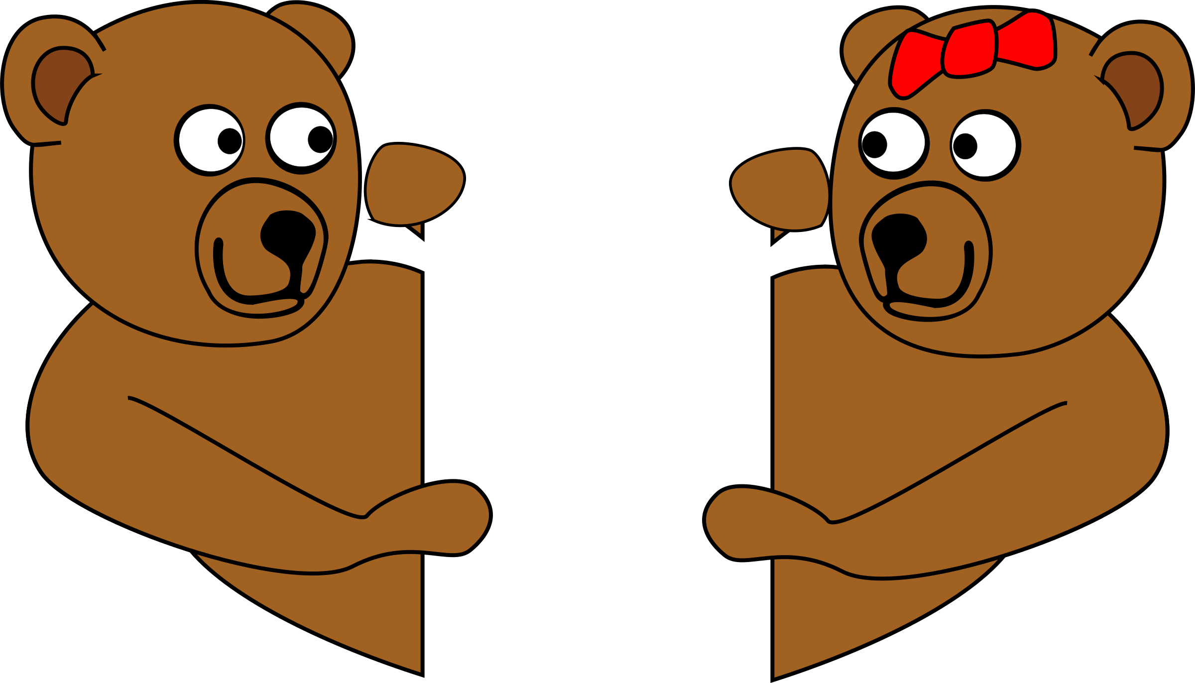 Clipart V Day Teddy Bears Looking Around Corners At Each