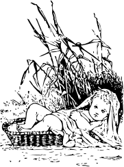 Moses in the bulrushes by johnny_automatic - a drawing of the baby Moses in the bulrushes from a pre-1920s program from the Library of Cnngress