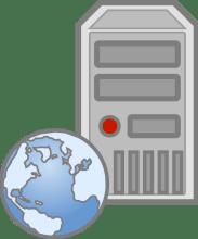 Computer server with globe superimposed at bottom left corner representing web development resources
