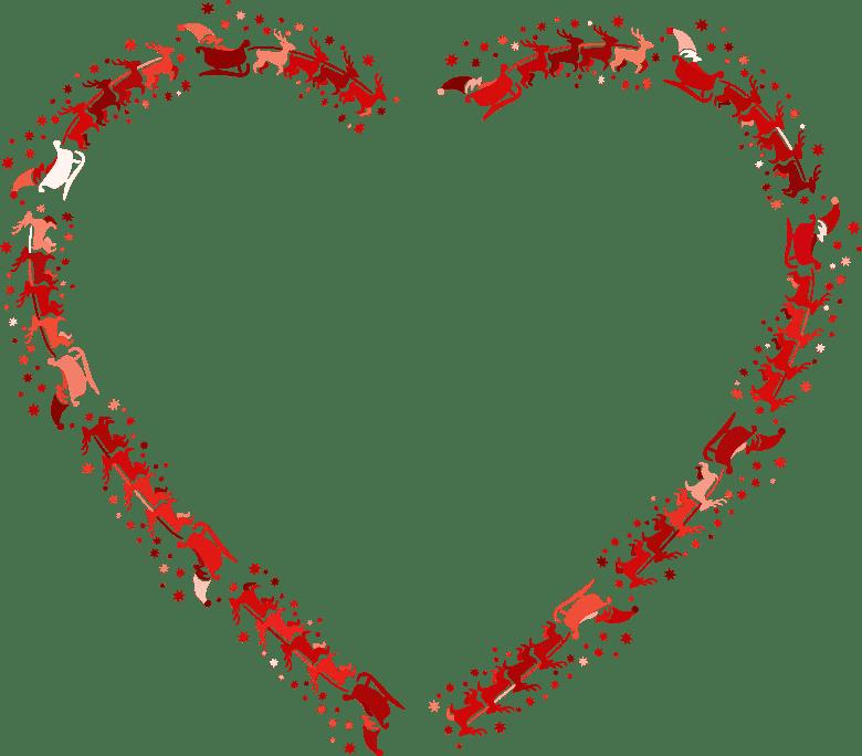 Clipart Santa Reindeer Heart Crimson
