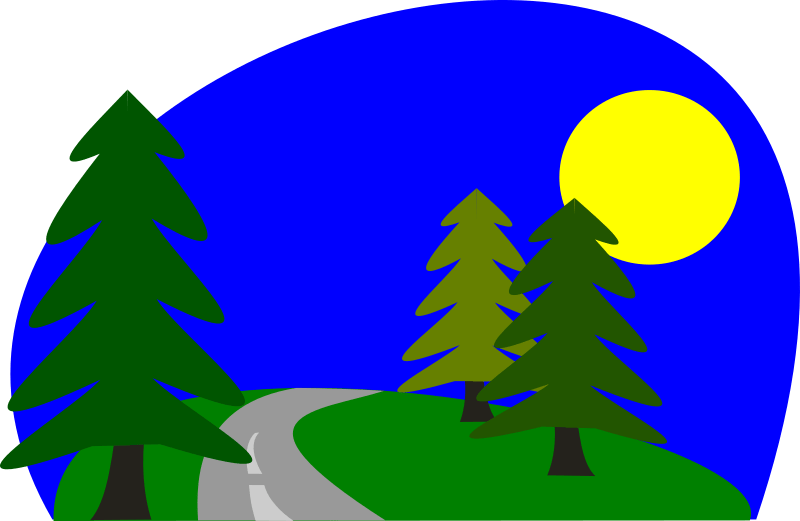 Road Trip by stevepetmonkey - Road over a hill with trees.