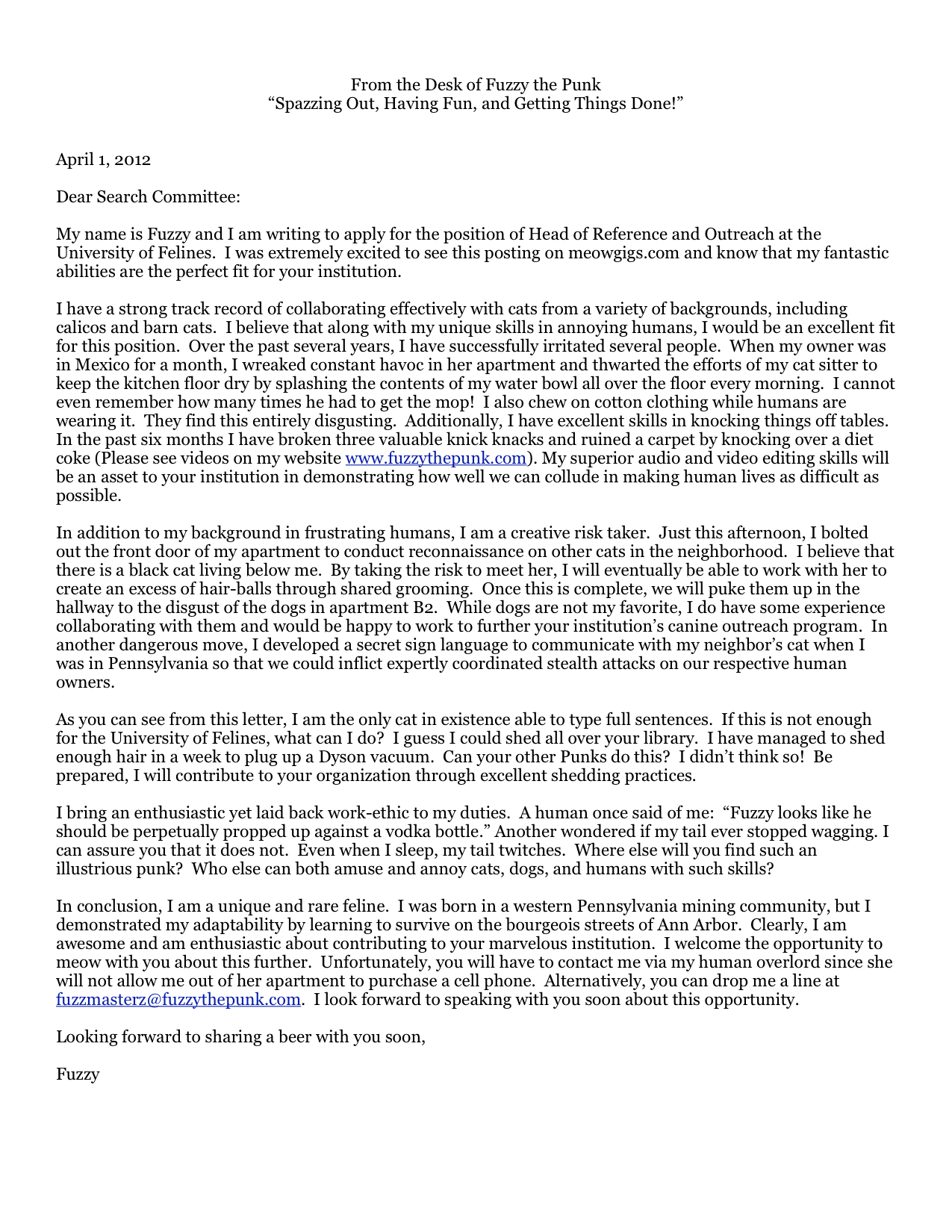 April 2012 Open Cover Letters