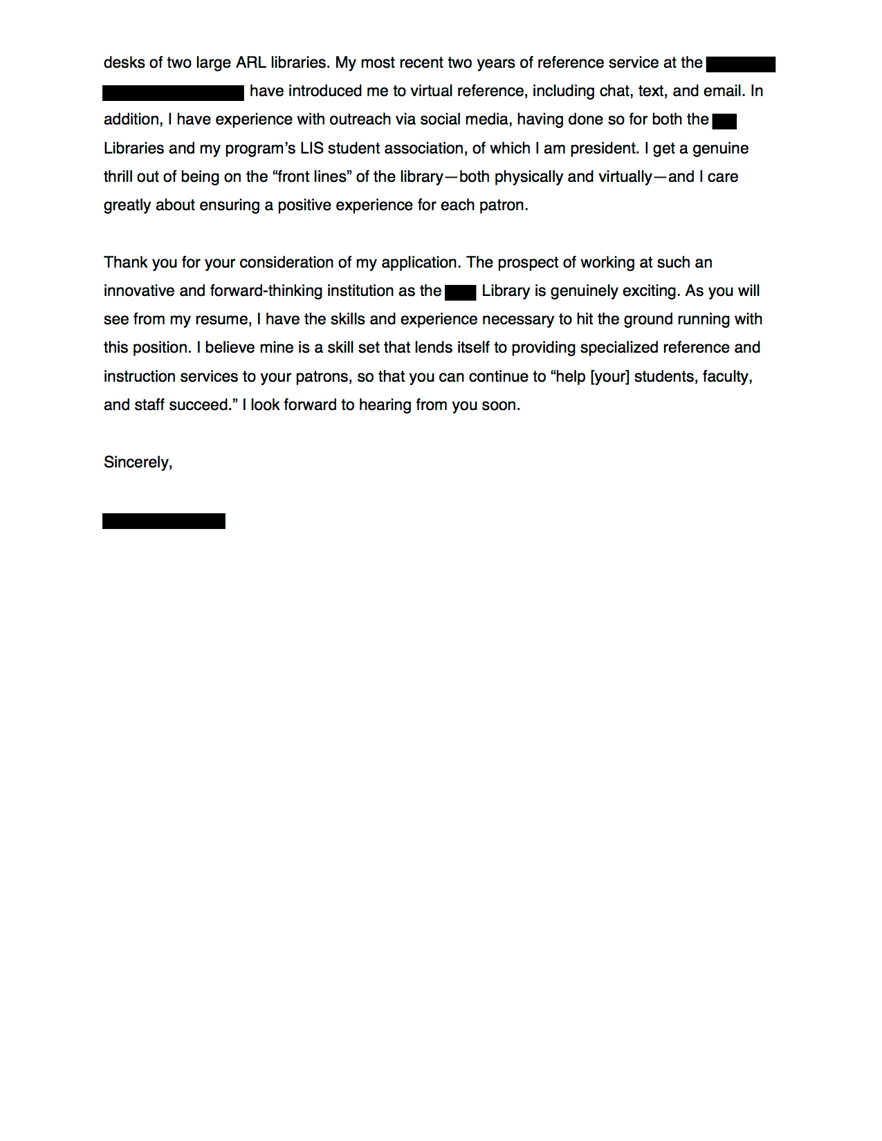 Elearning Librarian Cover Letter